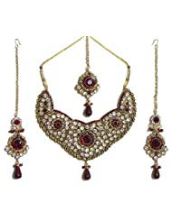 Faux Garnet And Cubic Zirconia Necklace Set With Mang Tika - Stone, Bead And Metal