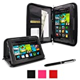 "rooCASE Amazon All New Kindle Fire HD 7 Case - Executive Portfolio Leather 7-Inch 7"" Cover with Landscape, Portrait, Typing Stand, Hand Strap - BLACK (With Auto Wake / Sleep Cover)"
