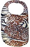New Silky Leopard Print Adult Fashion Bib - Velcro Closure