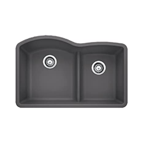 Blanco 441591 Diamond 1.75 Low Divide Under Mount Double Bowl Kitchen Sink, Large, Cinder