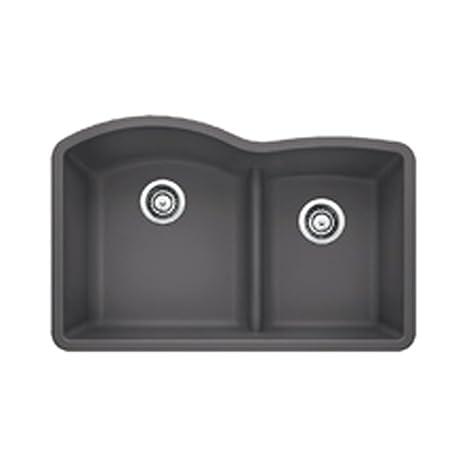 Blanco 441591 Diamond 1.75 Low Divide Under Mount Double Bowl Kitchen Sink, Large, Cinder