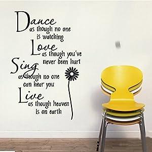 HQdeal Proverbi adesivi murali Danza Amore Canta Live Wall Stickers Sticker rimovibile in vetro Home Decoration   recensioni dei clienti