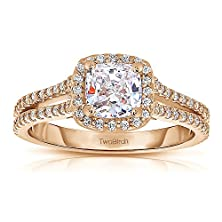 buy 1.16 Ct. Forever Brilliant Moissanite By Charles Colvard Cushion Cut Halo Engagement Ring Set Including Matching Wedding Ring In Rose Silver (1.16 Ct. Twt.)