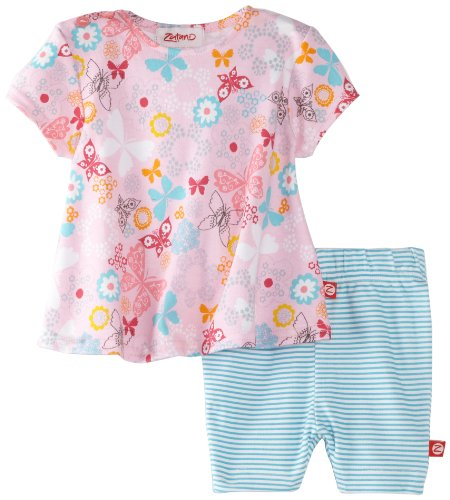 Zutano Baby-Girls Newborn Summer Dream Swing Tee And Bike Short Set, Multi, 12 Months back-81239