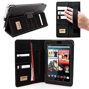 Snugg Nexus 7 Executive Leather Case in Black Ð Flip Stand Cover with Card Slots, Pocket, Elastic Hand Strap and Premium Nubuck Fibre Interior - Automatically Wakes and Puts the Google Nexus 7 to Sleep