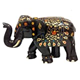 Suryanis Handcrafted Solid Rosewood Trunk Up Elephant With Brass Inlay Work Showpiece - (22 Cms, Brown)