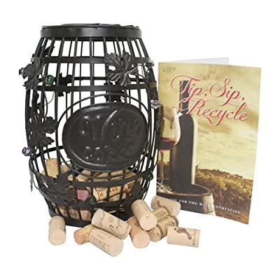 "Best Wine Bottle Holder* Wine Cork Barrel Cage*Cork Storage*Gift*Bar Decor with Tip, Sip & Recycle Guide for Wine Enthusiasts - Brown Patena with Glass Bead Accents - Med & Sm By Stanton Collectionsâ""¢"