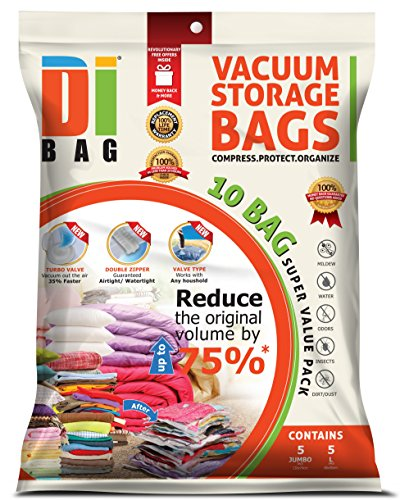 DIBAG 10 Bags Pack 5X(130x74 cm) + 5X(86x50 cm) Vacuum Compressed Storage Space Saver Bags for Clothing, Duvets, Bedding, Pillows, Curtains & More. (Clothing Vacuum Bags compare prices)