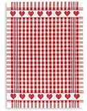 Jacquard Geschirr- Küchentuch, TRIOLINO®, Halbleinen, Herzenkante, rot, ca.50x70cm