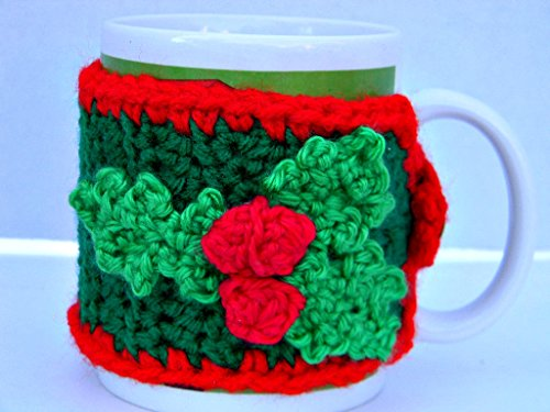 mug-cozy-green-red-christmas-holly-coffee-cup-cozy-crochet-holly-womans-gifts-mens-gifts-office-cozy