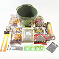 FTD - 10 Litre Loaded Bait Bucket Full of Dynamite Baits & Drennan ESP Tackle (for Carp Session Fishing) Features pellet, boilies, dip, attractors, paste, chod rigs, lead core, pva and much more - all contained in a Camoflagued 10 litre bait bucket by FTD