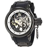 Invicta Men's 1091 Russian Diver Mechanical Skeleton Dial Black Polyurethane Watch ~ Invicta