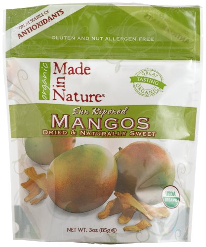 Made In Nature Organic Dried Mangos, 3-Ounce Bags (Pack of 6)