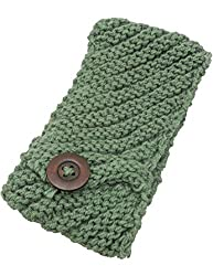 Crochet Knit Head Wrap with Button (Green)
