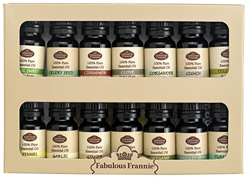 100% Pure Essential Oils Spice Rack Kit Includes: Basil Sweet, Celery Seed, Cinnamon, Clove, Coriander, Cumin, Dill Weed, Fennel, Garlic, Ginger, Nutmeg, Oregano, Parsley Seed & Tumeric
