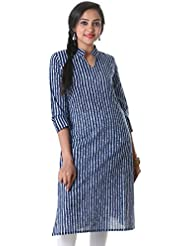 Medieval Blue Fancy Stand Collar With Stylish Ban Neck Cotton Kurta From ESTYLe