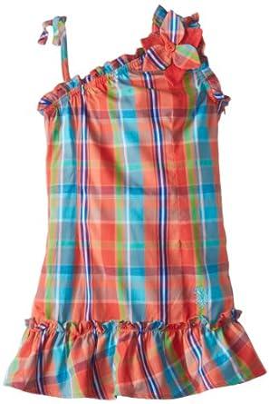 U.S. POLO ASSN. Little Girls' Ruffled One Shoulder Dress, Ferris Orange, 4