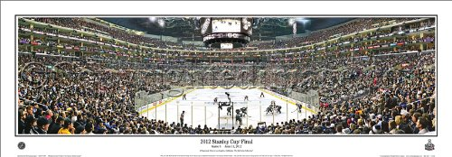"NHL Hockey Los Angeles Kings 2012 Stanley Cup Final Game 6 - 13.5x39 Panoramic Poster. Frame Dimensions 15.5x41 Deluxe Double Matt & Brown ""Mahogany"" Wood Frame w/Plexi Glass #4027"