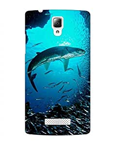 Case Cover Fish Printed Blue Soft Back Cover For Lenovo A2010