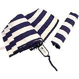 FakeFace 自動 傘 雨傘 日傘 UVカット 晴雨兼用 紫外線対策 パラソル 折り畳み ストライプ 可愛い 軽量 かさ ダークブルー
