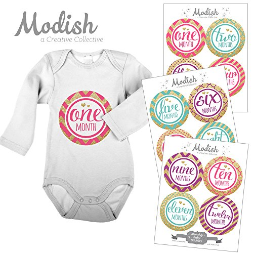 12 Monthly Baby Stickers, Gold Glitter {Faux}, Baby Girl, Baby Belly Stickers, Monthly Onesie Stickers, First Year Stickers Months 1-12, Pink, Teal, Purple, Gold Glitter, Chevron, Stripes, Polka Dots, Quatrafoil, Glamour, Fashion