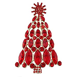Generisches österreichisches Kristall Schneeflocke Weihnachtsbaum Brosche Rot Gold-Ton A09739-2