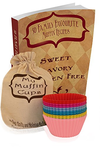 12 Muffin & Cupcake Liners, Recipe Book And Storage Bag