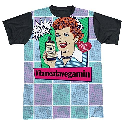 I Love Lucy Vita Comic All Over Black Back T-Shirt LB262ATBB