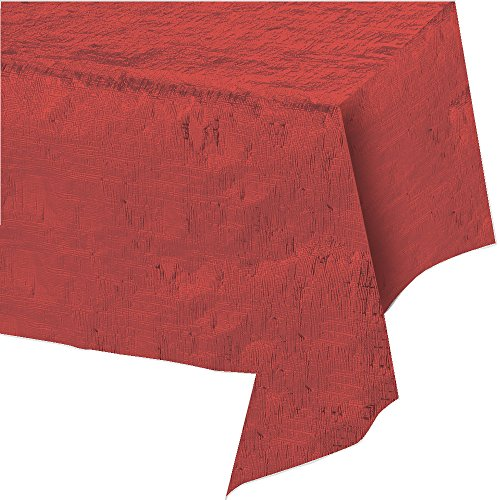 Creative Converting Season's Greetings Christmas Metallic Table Cover, Red