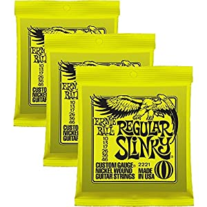 Ernie Ball 2221 Nickel Regular Slinky Electric Guitar Strings Regular - 3 Pack