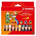 STABILO Woody 3 in 1 Multi Talented Pencil, Crayon and Watercolour - Assorted Colours (Pack of 10)