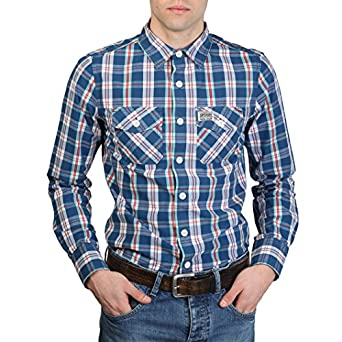 Amazon.com: Shirt Superdry MS4HE355F1RED blue - man - S: Clothing