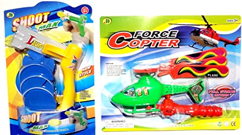 Best Affordable Toy Foam Disk Launcher & Helicopter Popular Kids Boys Stocking Stuffer Christmas Gift Idea With Pull String Launcher For Inexpensive Christmas Gift Ideas For Boys & Best Premium Birthday Party Favors For Boys Kids Children (Flying Toys 2 P front-336116