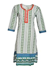 Global Women's Cotton Straight Kurta (GW65Whitep40015, Multi, 40)