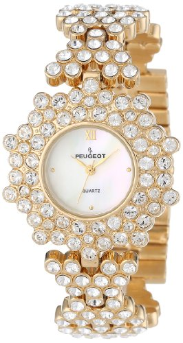 Peugeot Women's 7029G Gold-Tone Swarovski Crystal Accented Bracelet Watch