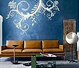 Vinyl Wall Art Decal Sticker Swirl Flower Floral Ornament Design #6