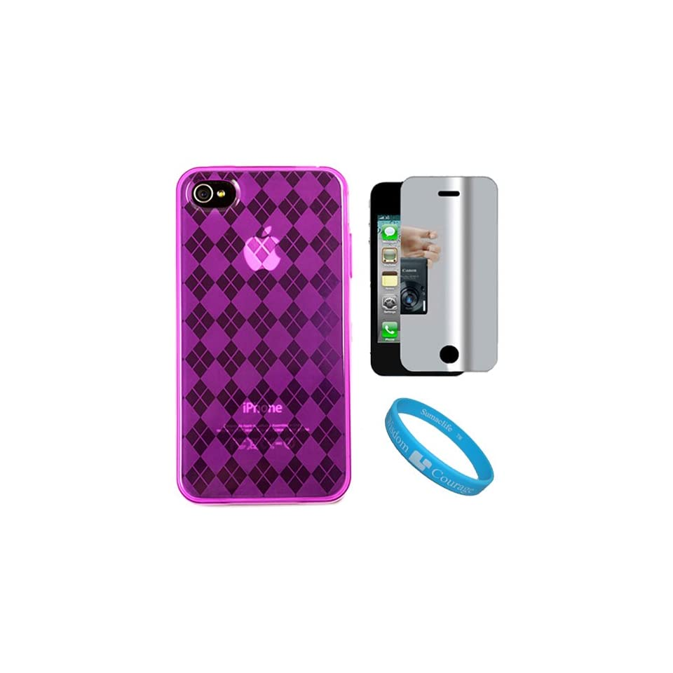 Pink Argyle Premium Rubberized Protective TPU Silicone Skin Cover Case for Verizon Wireless New iPhone 4 (16GB, 32GB) 4th Generation and AT&T iPhone 4 + Mirror Screen Protector for Apple iPhone 4 LCD Display Screen + SumacLife TM Wisdom Courage Wristband