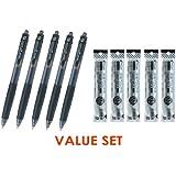 Pilot G Knock Click Retractable Premium Gel Ink Roller Ball Pens Ultra Micro Point -0.38mm- Black Ink-5 Pens & 5 Refills Value Set