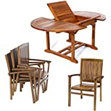 All Things Cedar 5 Piece Teak Oval Extension Table with Stacking Arm Chair, Expandable