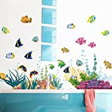 ElecMotive Ocean Wall Stickers for Under the Sea Theme Fish Coral Wall Mural Multicolored for Nursery Kids Room (Fish Coral)