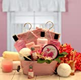 Pretty in Pink Spa Basket for Women - Birthday or Christmas Holiday Gift Idea for Her
