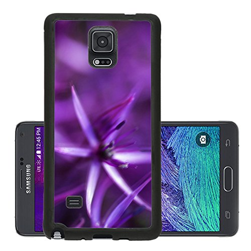 Liili Premium Samsung Galaxy Note 4 Aluminum Backplate Bumper Snap Case Artistic effect beautiful purple floral abstract 29101385