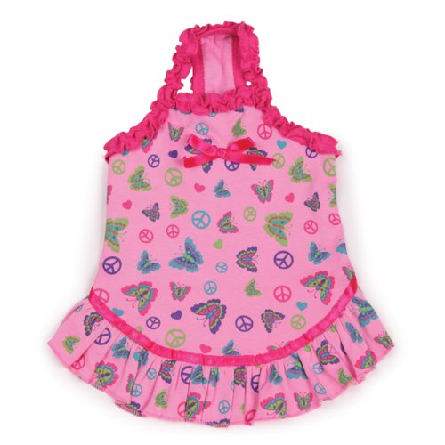 East Side Collection Cotton Butterfly Garden 14-Inch Dog Dress, Small/Medium, Pink front-967595