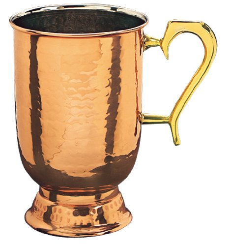 Old Dutch Old Dutch Solid Hammered Tankard with Brass Handle, 5 1/2 Inch, Copper