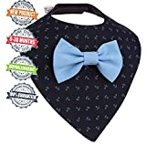 Premium Baby Bandana Drool Bib removable Bow-Tie one size For Boys aged from 3 to 30 months Perfect Gift - Baby shower, Birthday, Christmas (Dark-blue Bib with a light-blue Bow-Tie ) by BunnyLike