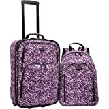 U.S. Traveler 2-Piece Purple Leopard Carry-On Rolling Upright and Backpack
