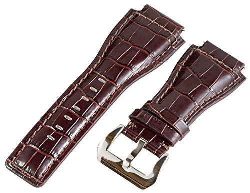 24Mm Brown Croco Leather Replacement Watch Band Strap - Made For Bell & Ross