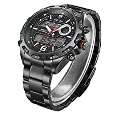 buy Jesusforyou ® Weide Waterproof Watch Men Lcd Digital Date Alarm Backlight Black Steel Watches + Free Gift As A Cross Necklace (Style-Three)
