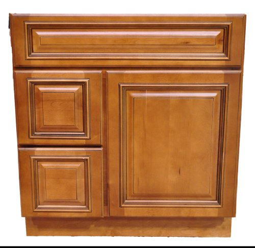 30 Inch All Wood Heritage Caramel Bathroom Vanity Two Drawers Cabinet Drawers on Left or Right