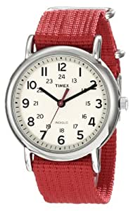 "Timex Unisex T2N751 ""Weekender"" Watch with Red Nylon Strap"